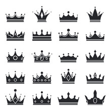 Medieval Royal Crown Queen Monarch King Lord Silhouette Icons Set Isolated Vector Illustration