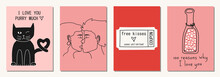 Set Of Valentine's Day Greeting Cards In Modern, Trendy Colors, Vector Illustration.