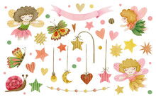 Watercolor Set Of Elements Of Fairies, Hearts, Stars, Ribbon, Butterflies, Snail, Beads On A Ribbon, Moon, Light Bulb Isolated On White Background.
