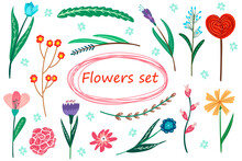 Large Set Of Plants In A Modern Cartoon Style. For The Design Of Postcards, Packaging. For Your Design. Doodle Style.