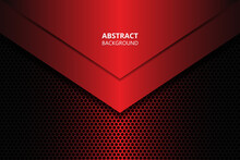 Abstract Background With Dark Red Carbon Fiber. Red Gradient Geometric Shapes On Carbon Grid. Carbon Textured Pattern.