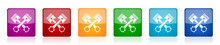 Pistons Icon Set, Square Glossy Vector Buttons In 6 Colors Options For Webdesign And Mobile Applications