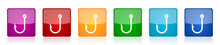 Fishing Hook Icon Set, Square Glossy Vector Buttons In 6 Colors Options For Webdesign And Mobile Applications
