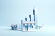 Leinwandbild Motiv Business sale growth and expand shop franchise, copy space. 3d render.