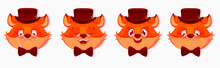 Cartoon Fox Avatars With Different Emotions, Isolated On White Background. Emotions Of A Fox Smile, Cry, Surprise, Anger And Sweetness. Vector Illustration