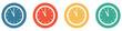 Leinwandbild Motiv Bunter Banner mit 4 Buttons: Uhr um 11 Uhr
