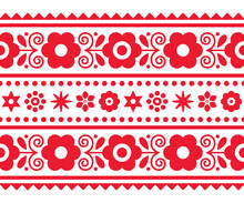 Polish Folk Art Vector Long Vertical Seamless Textile Or Greeting Card Pattern With Floral Motif- Lachy Sadeckie
