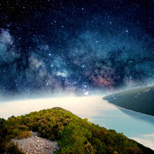 Beautiful Seaside View With Stars Cluster In Sky. Collage With Cosmos And Astronomy Theme. Negative Space To Insert Your Text. Modern Design. Contemporary Colorful And Conceptual Bright Art Collage.