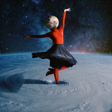 Woman Dancing In Outer Space Headed By Planet. Collage With Cosmos And Astronomy Theme. Negative Space To Insert Your Text. Modern Design. Contemporary Colorful And Conceptual Bright Art Collage.