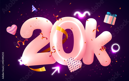 Fototapeta 20k or 20000 followers thank you Pink heart, golden confetti and neon signs
