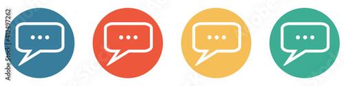 Bunter Banner mit 4 Buttons: Sprechblase Fotobehang