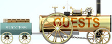 Guests And Success - Symbolized By A Retro Steam Car With Word Guests Pulling A Success Wagon Loaded With Gold Bars To Show That Guests Is Essential For Prosperity And Success In Life, 3d Illustration