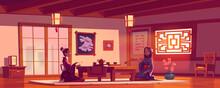 Tea Ceremony In Asian Restaurant, Women In Kimono
