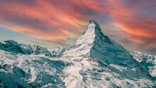 Zermatt, Switzerland. East And North Faces Of The Matterhorn At Sunrise.