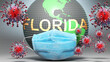 canvas print picture Florida and covid - Earth globe protected with a blue mask against attacking corona viruses to show the relation between Florida and current events, 3d illustration