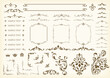 Vector set frames and vignette for design template. Elements in Victorian style. Golden floral borders. Ornate decor for invitations, greeting cards, certificate, thank you message.
