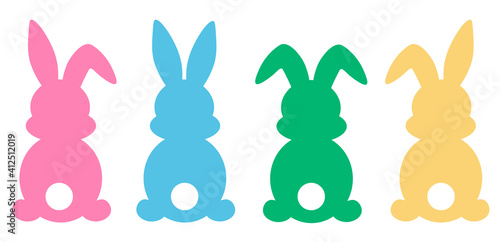 Photo Set easter bunny silhouettes vector illustrationSet easter bunny silhouettes vec