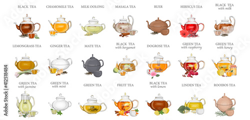 Fototapeta Tea types set. Kettle or teapot with hot drink and ceramic cup. Green and black tea, lemongrass and chamomile drink. Isolated vector illustration  obraz