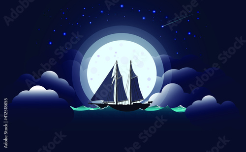 Fotomural A lonely sailing yacht against the background of the full moon