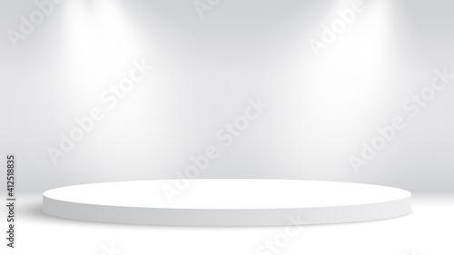Obraz White round podium and spotlights. Pedestal. Vector illustration. - fototapety do salonu