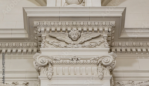 Column top, gypsum stucco molding with angel, wall texture and patterns Fototapete