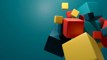 Abstract Background With Dynamic 3d Colorful Cube.