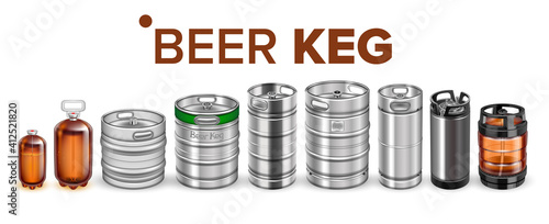 Fotografia Beer Beverage Keg Barrel Cask Set Vector