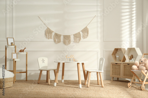 Obraz na plátně Modern child room interior with stylish furniture and accessories