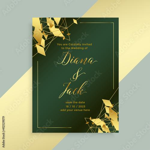 abstract golden style wedding flyer template design Fototapeta