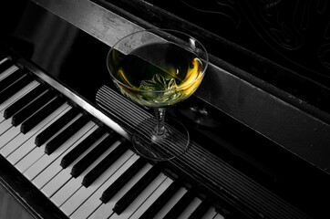 High Angle View Of Wine In Glass On Piano