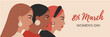 Vector banner for Women's Day. 8 march international womens day flyer with female portraits in minimal style. Cultural diversity concept with girl profiles