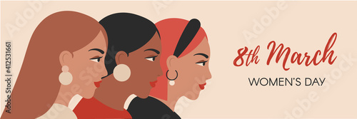 Obraz Vector banner for Women's Day. 8 march international womens day flyer with female portraits in minimal style. Cultural diversity concept with girl profiles - fototapety do salonu
