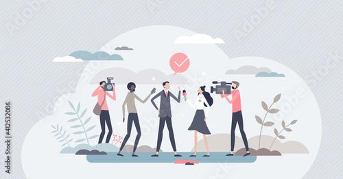 Fototapeta Journalism as television, press and radio mass media work tiny person concept obraz