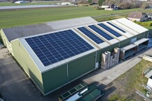 Flower Bulb Company With Solar Panels In A Row On A Roof. Photo Taken With A Drone