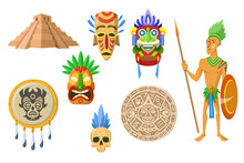 Aztec Ancient Artifacts Set. Pyramids, Tribal Masks With Eagle Feather, Calendar Isolated On White. Vector Illustrations For Maya Ethnic Culture Concept