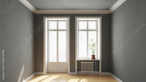Fototapeta Fenster und Balkontür in Raum von Altbauwohnung obraz