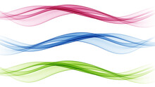 Set Of Transparent Waves. Abstract Colour Background Waves.Wave Red,blue,green