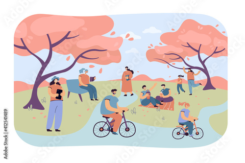 Positive people sitting in city park with cherry trees isolated flat vector illustration. Cartoon characters relaxing outdoors on hanami festival. Summer activity and nature concept
