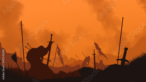 Fototapeta End of the battle. The fallen warrior holds a sword in his hand. A bloody sunset is behind him. The weapon is stuck in the ground. Smoke rises into the sky. 2D illustration. obraz