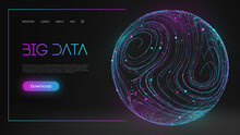 Colorful Data. Blue Futuristic Background. Abstract Sphere Energy Field. Blue Sphere Shield On Dark Background EPS 10.