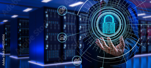 Fotografia Fingerprint scan provides security access with biometrics identification