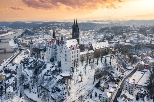 Albrechtsburg Meissen Sachsen Deutschland Wolken Blauer Himmel Schnee Dresden Do Wallpaper Mural