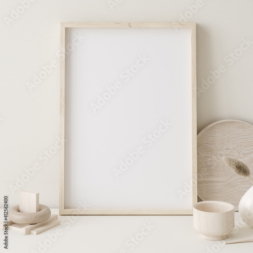Fototapeta Mock up frame close up in home interior background ,Boho style, 3d render