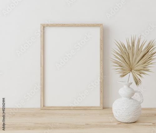 Fototapeta Mock up frame close up in home interior background ,Boho style, 3d render obraz