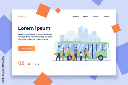 Fototapeta Passengers waiting for bus in city. Queue, town, road flat vector illustration. Public transport and urban lifestyle concept for banner, website design or landing web page obraz