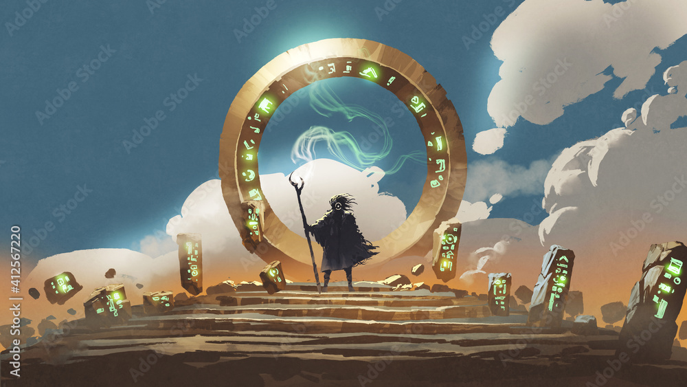 Fototapeta The wizard holds his wand standing at the circle gate, digital art style, illustration painting