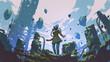 Leinwandbild Motiv woman in gas mask standing in an overgrown factory, digital art style, illustration painting