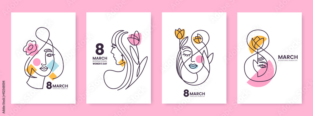 Fototapeta Women's Day greeting card collection in line art style. Linear silhouettes of beautiful women with flowers and decorative elements isolated on white. Ideal for postcard, promo, beauty salon.