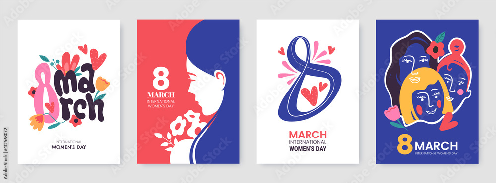 Fototapeta International Women's Day greeting card collection in different styles. 8 March posters design with lettering, womens, flowers and decorative elements. Ideal for print, postcard, social media, promo.