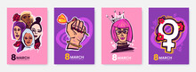 International Women's Day Greeting Card Collection In Funny Cartoon Style. 8 March Posters Design With Comical Illustrations Of Womens And Symbols Of Feminism. Ideal For Print, Postcard, Social Media.